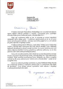 List Marszałka Województwa Małopolskiego